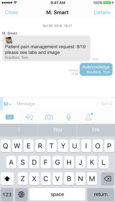 PatientTouch - Care Team Secure Text Message Screenshot
