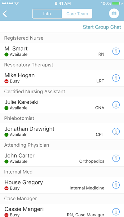 PatientTouch - Clinical Team Availability Screenshot